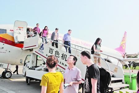 目前百色机场共有3条航线,分别是重庆,桂林,广州,每周二,四,六各